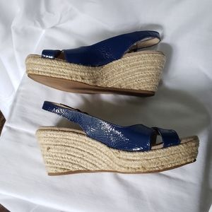 Boden Espadrille Wedge Blue Leather Sandal Size 36